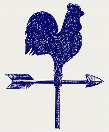 rooster weather vane: Cockerel wind vane. Doodle style Illustration