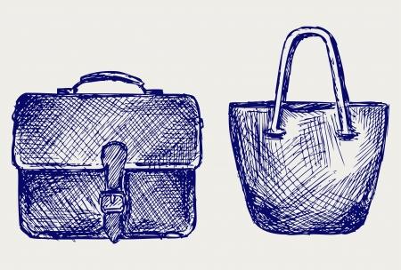 satchel: Bags. Doodle style Illustration