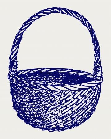 picnic basket: Empty wicker basket. Doodle style