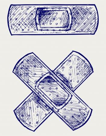 bandaid: Adhesive bandage. Doodle style Illustration