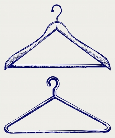 hanging clothes: Clothes hangers. Doodle style