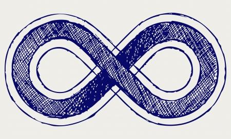 infinito simbolo: Infinito símbolo. Estilo Doodle Vectores
