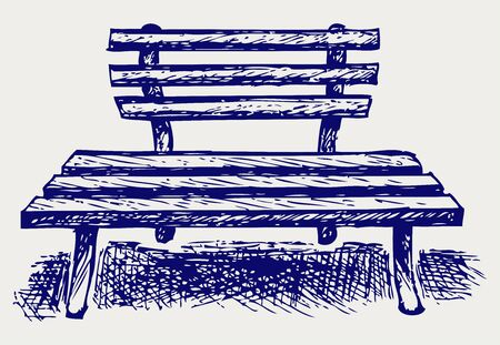 garden chair: Wooden bench. Doodle style