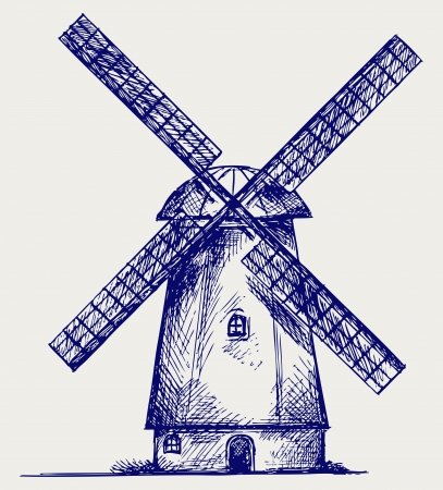 flour mill: Windmill. Doodle style Illustration