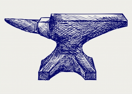 ancient blacksmith: Anvil. Doodle style
