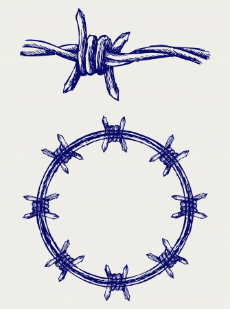 barbed wire fence: Barbed wire Illustration