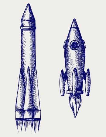 Retro rocket. Doodle style Vector