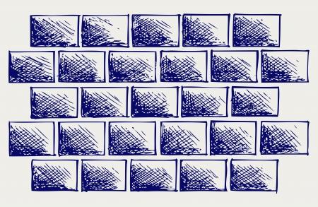 linework: Old bricks. Sketch Illustration