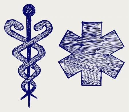 Medical sign. Doodle style Vector