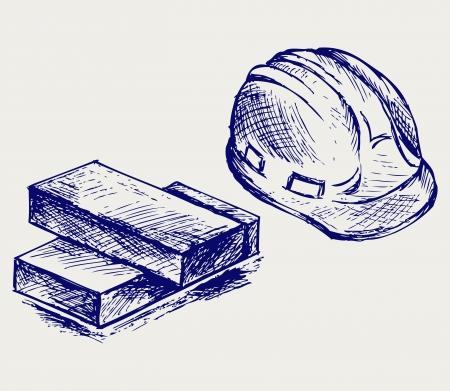 ingeniero caricatura: Casco y ladrillos. Estilo Doodle