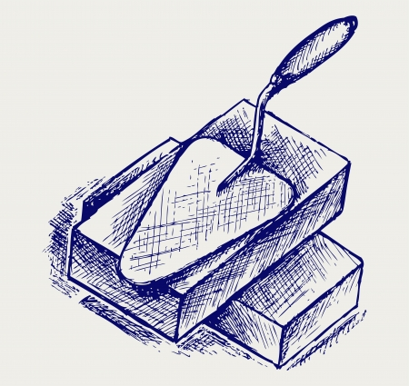 bricklayer: Trowel and bricks. Doodle style