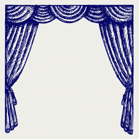 stage decoration abstract: Theater curtain. Sketch Illustration