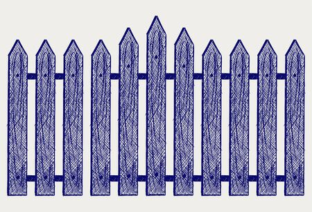 Wooden fence. Sketch Stock Vector - 15912226