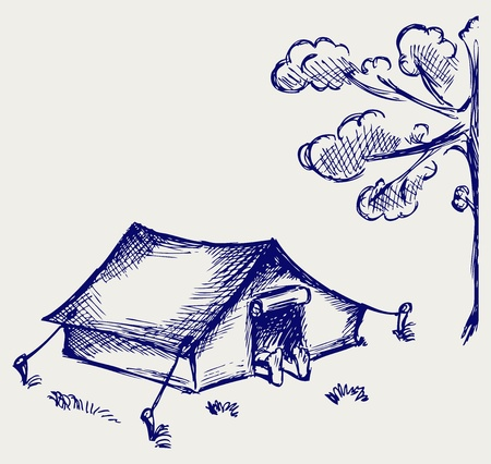 camping tent: Tourist tent. Doodle style Illustration