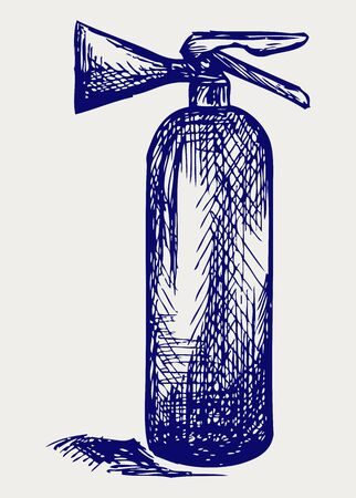 fire extinguisher: Fire extinguisher. Doodle style