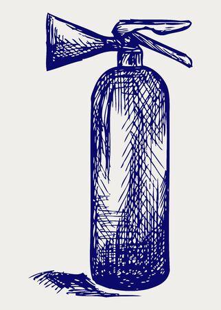 fire extinguisher symbol: Fire extinguisher. Doodle style