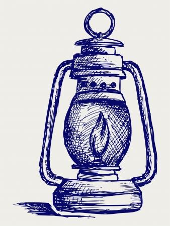 Kerosene lamp. Doodle style Stock Vector - 15912262