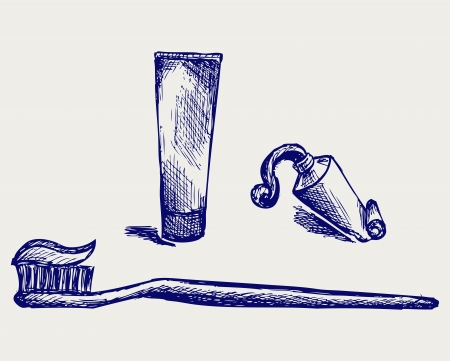 Toothbrush and toothpaste. Doodle style Vector