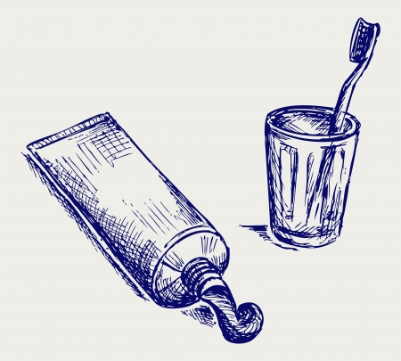 bristle: Toothbrush and toothpaste. Doodle style Illustration