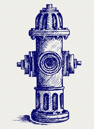 departments: Fire Hydrant. Doodle style Illustration