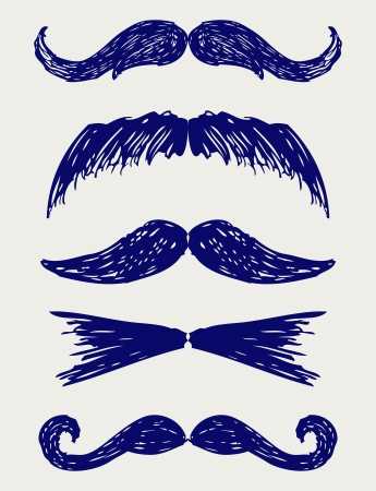 sideburns: Mustache. Doodle style