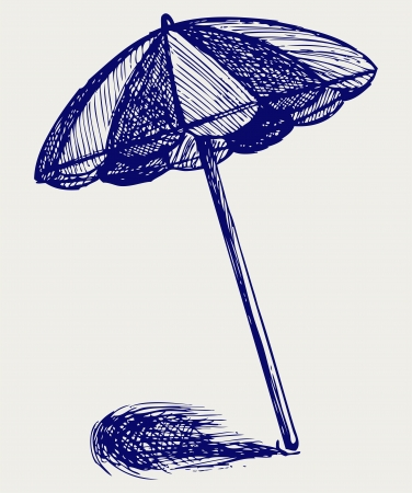 reclining: Beach umbrella. Doodle style Illustration