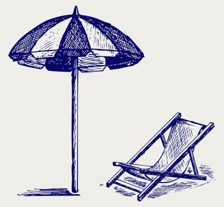 reclining chair: Chair and beach umbrella. Doodle style