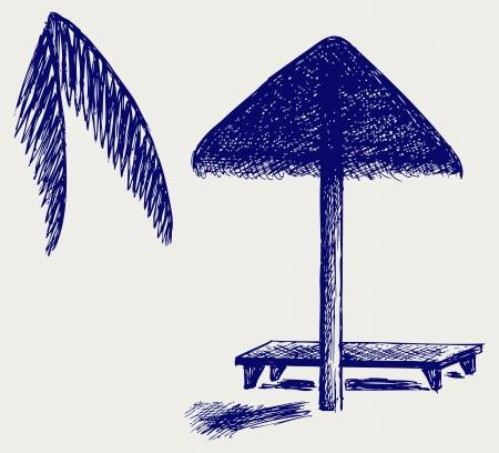 reclining: Palm Leaf Beach Umbrella. Doodle style