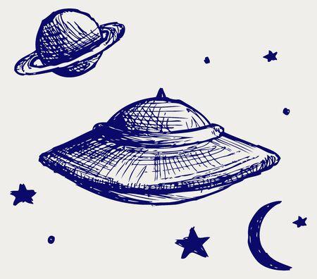 platillo volador: Espacio platillo volante. Estilo Doodle