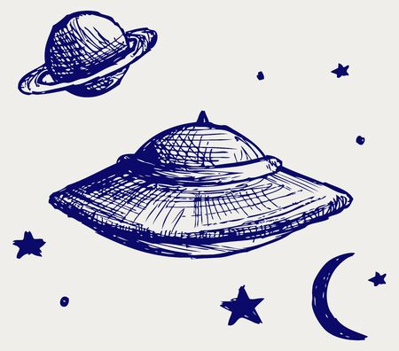 flying saucer: Space flying saucer. Doodle style Illustration