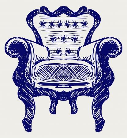 leather chair: Sedia in legno rivestita in pelle. Stile di Doodle Vettoriali