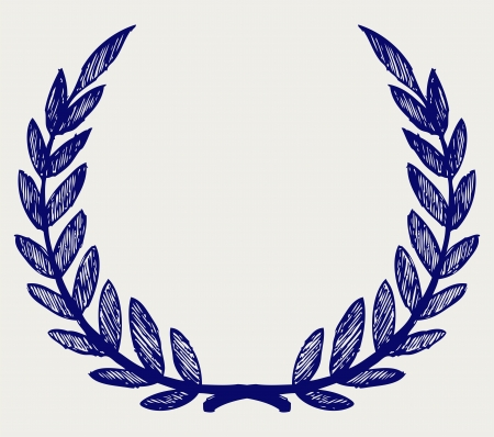 laurel leaf: Vector laurel wreath. Doodle style