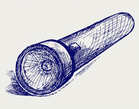 taschenlampe: Taschenlampe. Doodle-Stil