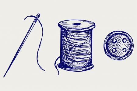bobbin: Spool with threads and sewing button. Doodle style