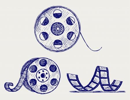 Film reel. Doodle style Stock Vector - 15921595