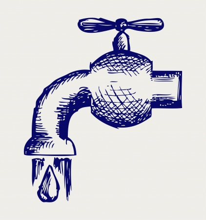 drinkable: Dripping tap with drop  Doodle style Illustration