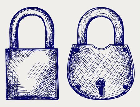 Closed locks security icon  Doodle style Stock Vector - 15921591