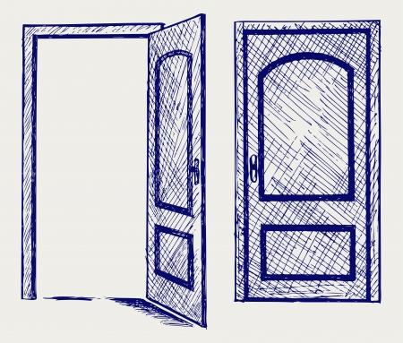 Open deur Doodle stijl