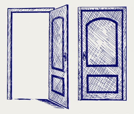 exit door: Open door  Doodle style