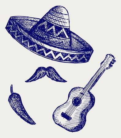mariachi: Mexicaanse Symbolen. Doodle stijl Stock Illustratie