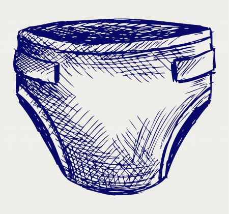 white underwear: Pannolini per bambini. Stile di Doodle