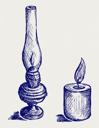 Kerosene lamp. Doodle style Stock Vector - 15921571