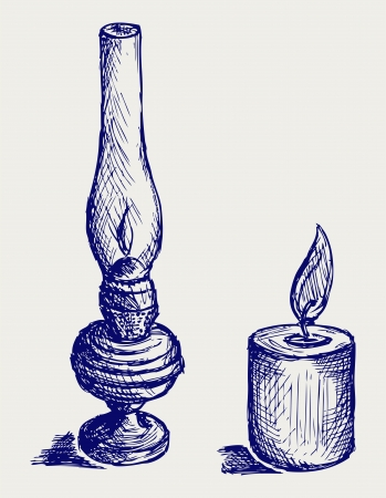 gas lamp: Kerosene lamp. Doodle style