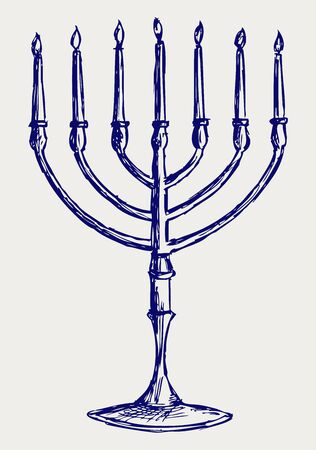 hanukka: Hanukkah menorah. Doodle style Illustration