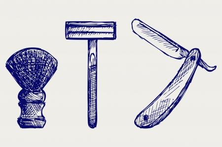 shaving brush: Straight razor and shaving brush. Doodle style