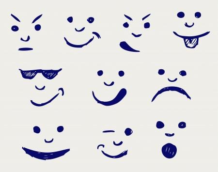 smileys: Set of smileys. Doodle style