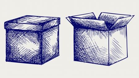 corrugated box: Empty, cardboard box. Doodle style