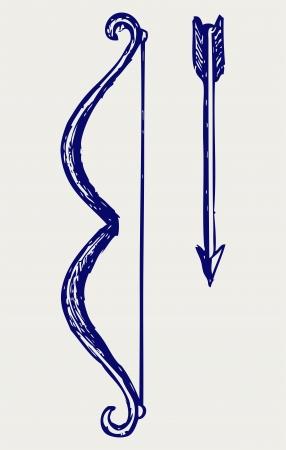 bow arrow: Bow and arrow. Doodle style