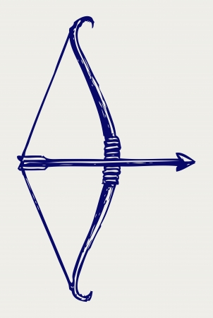 longbow: Bow and arrow. Doodle style