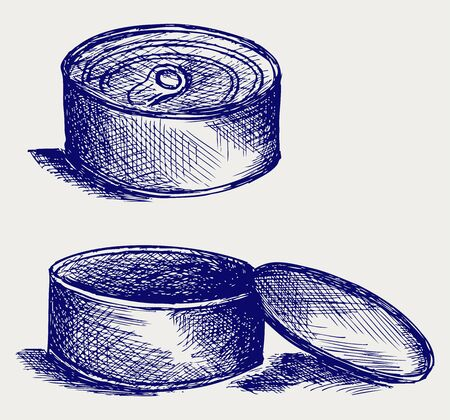 Tin can. Le style Doodle